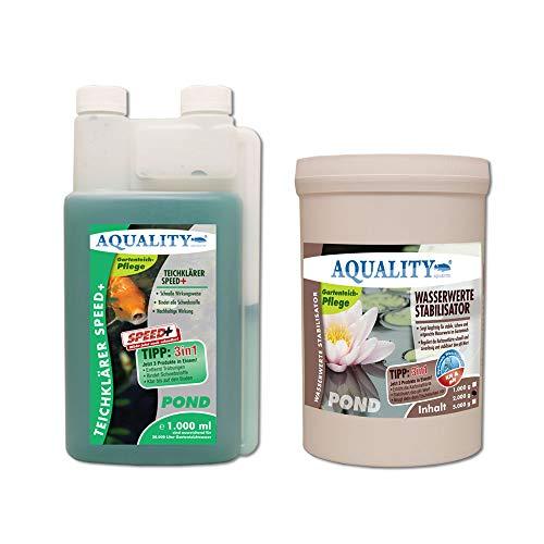 AQUALITY Klarwasser Teichpflege-Komplettset (GRATIS Versand in DE - Set mit Teichklärer und Wasserwerte Stabilisator für einen klaren Gartenteich, nachhaltige Wirkung), Inhalt:20.000 Liter