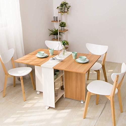 Klaptafel 1,2 m rechthoekige eenvoudige mobiele telescooptafel op wielen; draaibureau voor keuken, woonkamer, eetkamer (zonder stoel)