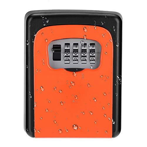 ZHEGE Caja de llaves de pared, caja fuerte para exteriores resistente a la intemperie, utilizada para llaves de casa compartidas, armarios de llaves, almacenamiento de llaves de alta seguridad,naranja