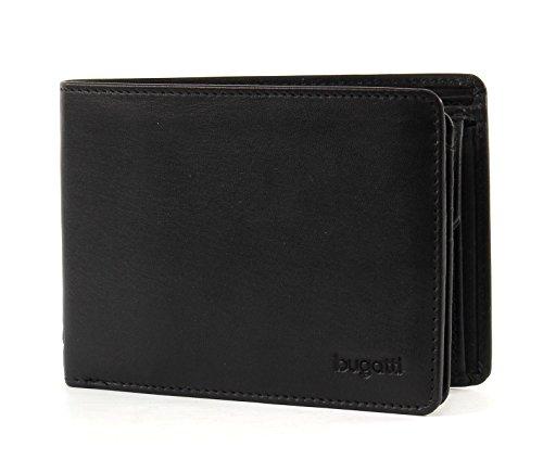 Bugatti Primo Geldbeutel Männer Leder - Geldbörse Herren Schwarz - Portmonaise Portemonnaie Portmonee Brieftasche Wallet Ledergeldbeutel