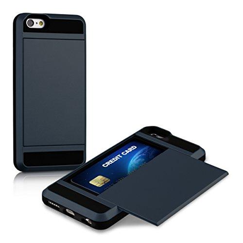 kwmobile Hybrid Hülle kompatibel mit Apple iPhone 6 / 6S - Kartenfach - Dual Silikon Hardcase Handy Cover Dunkelblau Schwarz