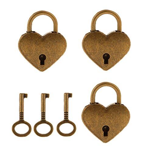 joyMerit Conjunto de 3 Mini-Forma del Corazón de La Vendimia con El Candado de Bloqueo de Teclas Maleta - Plata M - Latón Antiguo, Individual