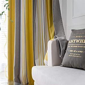 Crib Bedding And Baby Bedding Modern Stripes Blackout Curtain Drapes Dyed Printed Grommet Kids Curtain For Girls Boys Bedroom Thermal Insulated Nursery Window Treatments For Living Room , 1 Panel Yellow Grey Beige W55 X L84 Inch