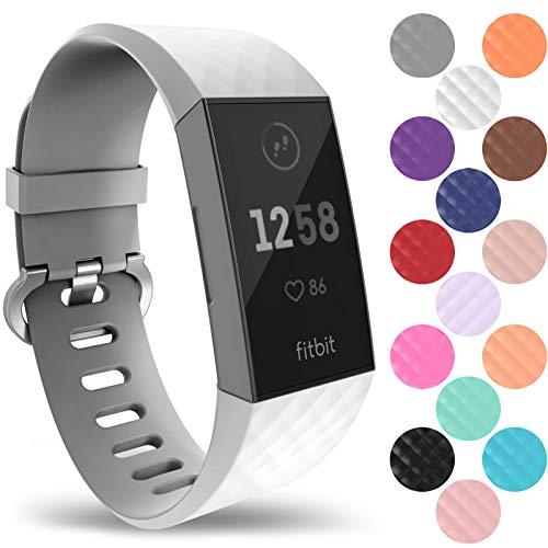 Yousave Accessories Armband Kompatibel mit Fitbit Charge 3 & 4 Armband, Silikon Ersatzarmband für Fitbit Charge3 / Charge4 Tracker, Sport Armband, Fitbit Charge 3 & 4 Armbänder - Klein - Weiß