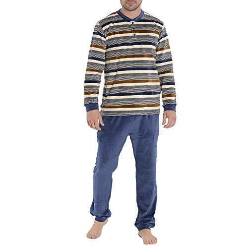 El Búho Nocturno Pijama de Caballero de Terciopelo para el frío Invierno de Manga Larga a Raya Velour algodón para Hombre Talla 3 (M)