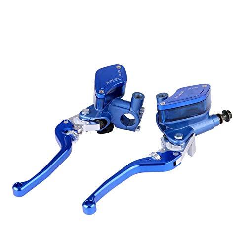 Par maestro de embrague de freno de 22mm CNC bomba de freno hidráulico de motocicleta palanca de cilindro maestro de embrague accesorios de Moto ajustables(azul)