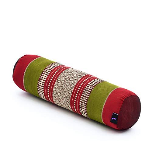Leewadee Yoga Bolster pequeño – Cojín Alargado para Pilates y meditación, reposacabezas Hecho a Mano de kapok, 55 x 15 x 15 cm, Rojo Verde