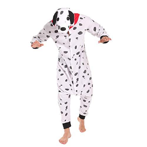 FORLADY Pijama Dálmata Disfraz de Cosplay para Adultos Pijamas de Animales Blanco Unisex