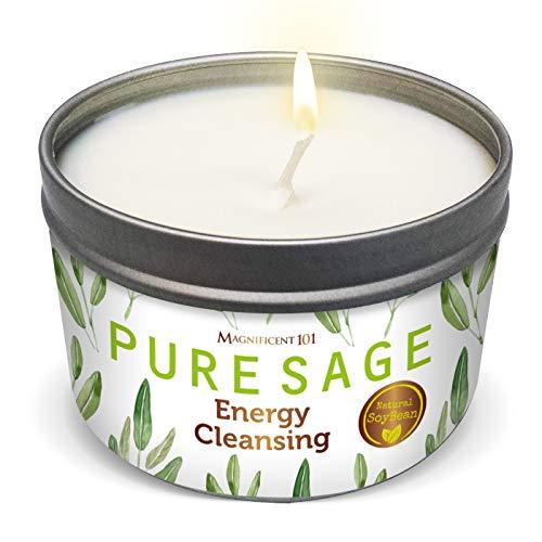 Magnificent101 Duftkerze, Reiner weißer Salbei, für die Energiereinigung, vertreibt negative Energie, reinigt und heilt die Chakren - Aus natürlichesm Sojawachs, Dosenkerze