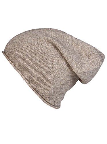 Cashmere Dreams Slouch-Beanie-Mütze mit Kaschmir - Hochwertige Strickmütze für Damen Mädchen Jungen - Hat - Unisex - One Size - warm und weich im Sommer Herbst und Winter Zwillingsherz (d.beige)