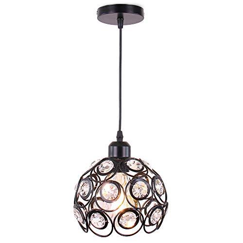 Mini lámpara de techo araña de cristal lámpara de techo de montaje semi empotrado accesorio de iluminación de techo moderno para pasillo cocina escalera de dormitorio Isaland,Negro,E26