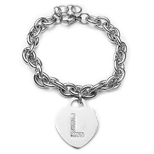 Beloved ❤️ Pulsera de mujer de acero con cristales con letra - pulsera con encanto de corazón inicial y cristales - alfabeto - tamaño ajustable, nacimiento, aniversario, idea de regalo (L)