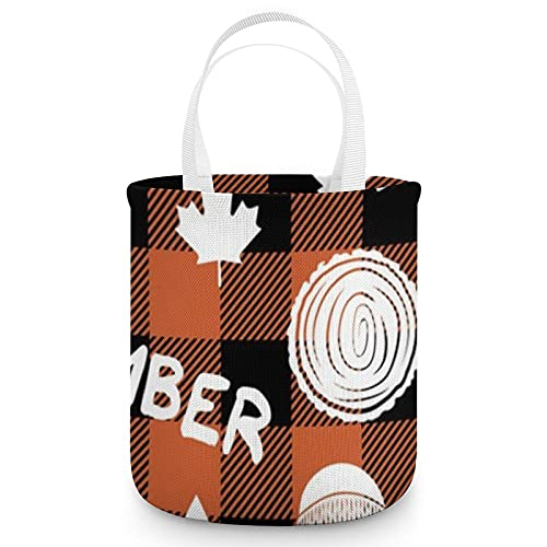 Piccola scala legname bufalo plaid arancione Halloween Candy Bag zucchero frutta cestino cibo snack...