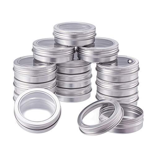 BENECREAT 14 Pack 60ml Latas de estano con Tapa de Rosca Latas de Aluminio Redondas Contenedores con Ventana Transparente: Ideal para almacenar Dulces, te o Regalos (Platinum)