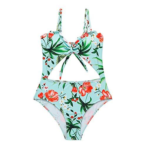 Yamer Frauen Hohe Taille Einteilige Badebekleidung Sexy V-Ausschnitt Pflanze Gedruckt Sling Strap Halter Badeanzug Bikini Set