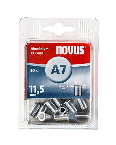 Novus 045-0076 Remache ciega, 7 mm de diámetro, Aluminio, Tuercas remachadas, Rosca M5, 11,5 mm de Longitud, para plástico y Material Ligero, Plata, 30 Stück