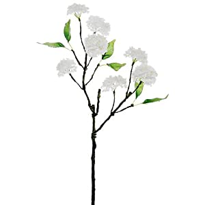 20″ Handwrapped Silk Snowball Flower Spray -White (Pack of 12)