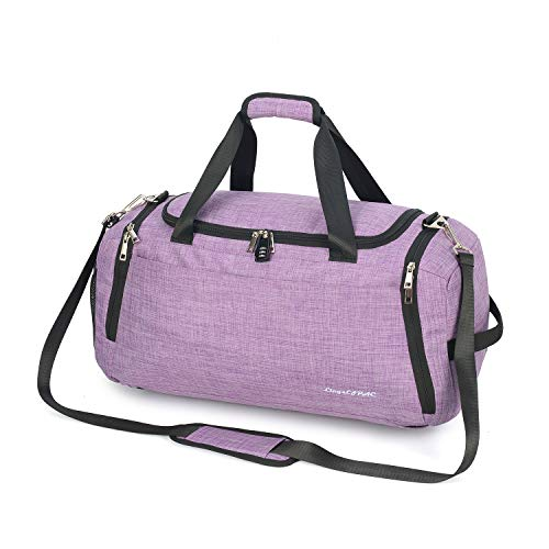 Sports Gym Bag with Wet Bag & Shoes Compartment/Travel Duffel/Diaper Bag/Single shoulder/ Cross body/42L/Durable/Waterproof/ with Combination Lock (LIGHT PURPLE)