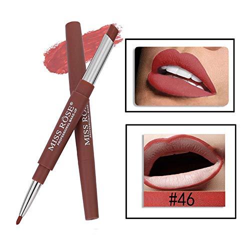 Tonsee MISS ROSE Sexy Métallique Lip Gloss Fashion Rouge à lèvres Double-end Lasting Lipliner Waterproof Lip Liner Stick Pencil 20 Color (46#)