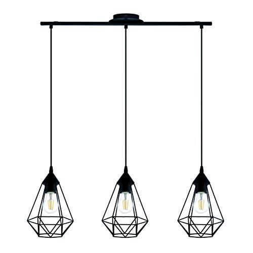 INSPIRE - Lámpara colgante de metal Byron longitud 79,5 cm - 3 bombillas E27 de 60 W Ø 17,5 cm - Negro