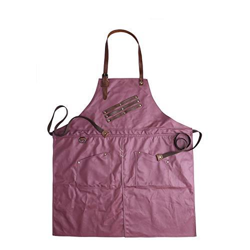 YMJJ Craftsman Schürze Vintage Canvas wasserdichte Schürze mit Multi-Tool-Tasche Robust und Abriebfest,Rot