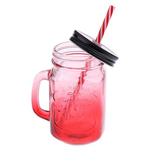 HomeDecTime 480ML Barattolo di Vetro con Manico E Cannuccia nel Coperchio del Bicchiere - Rosso