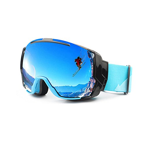 EnzoDate Skibril UV400 Anti-condens met Zonnige Daglens en Bewolkte Daglensopties, Snowboard Zonnebril bril op Rx