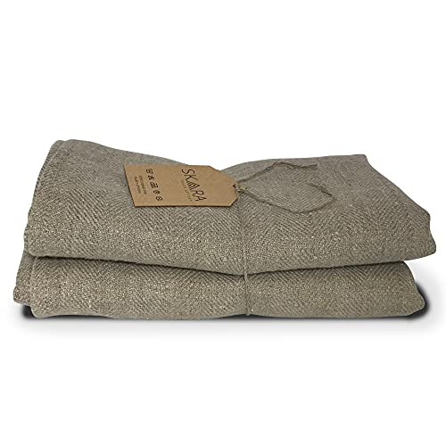 SKARA Asciugamano in 100% lino naturale morbido - Asciugamano resistente, leggero e altamente assorbente usato per casa, ristorante, hotel - Tovagliolo per cucina, bagno, salone, spa - naturale Lara