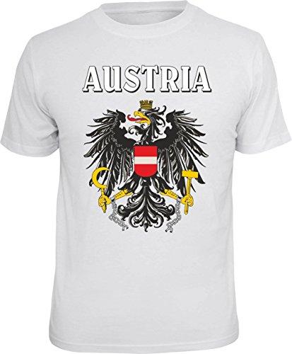Trendagentur KEPPLINGER Mega Cooles T-Shirt mit Aufdruck: Austria - Ideales Andenken, Mitbringsel und Geschenk (Weiss, XL)