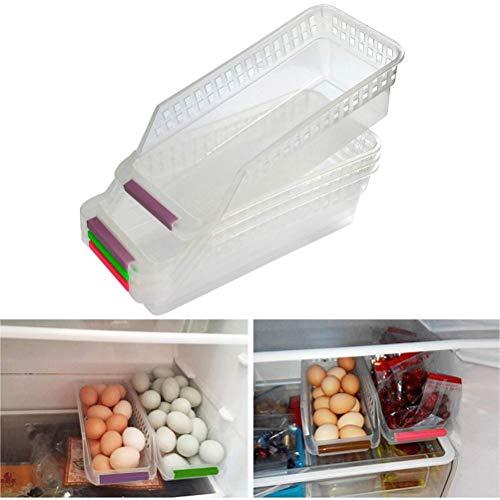 OFNMY 4pcs Organizador de Alimentos Almacenamiento con Mango Ideal para Frigorífico,Cocina, Despensa, Nevera (30 * 13 * 8.5cm)