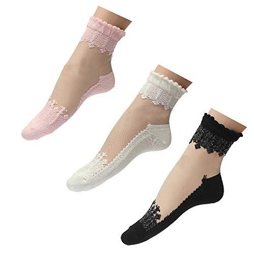 Mangotree Sommer Damen Jahrgang Ultradünne Transparent Schöne Crystal Lace Elastische Kurze Socken Schwarz (3 pairs)