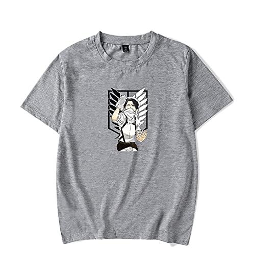 GUGU Camiseta Unisex De Verano con Cuello Redondo 2D, Camiseta Negra De Anime Locker Attack On Titan, Mangas Cortas Deportivas