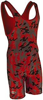 Matman Funky Camo Wrestling Singlet - Red/Charcoal/Black- Womens and Girls