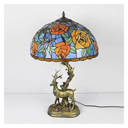 Estudiar Escritorio Sala de Estar Lámpara de Mesa Creativa Pastoral Ciervo Lámparas de 16 Pulgadas Lámparas para dormitorios Lámpara de Noche