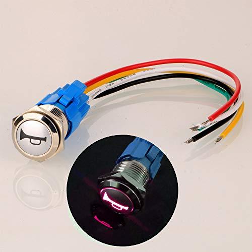 Gebildet 12V-24V 16mm Pre-cableado Momentáneo Altavoz de Bocina Botón Impermeable Metal Interruptor con Rojo LED para Coche o Barco