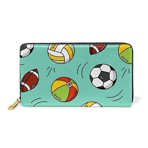 WowPrint Sport Fußball Rugby Basketball Geldbörse echtes Leder Große Kapazität Fächer mit Reißverschluss Lange Geldbörse Tasche Kartenhalter für Frauen Damen Mädchen