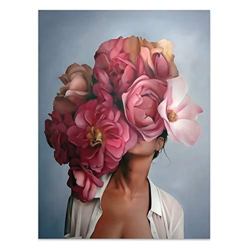 Blumen Federn Frau Abstrakte Leinwand Malerei Wandkunst Druck Poster Bild Dekorative Malerei Wohnzimmer Wohnkultur A3 20x25cm Kein Rahmen