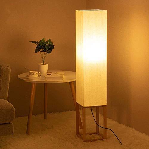 Duradero Japonés Lámpara de pie moderna de madera maciza minimalista Sala de estar Lámpara de tela Europea caliente dormitorio lámpara de cabecera L24cm * W24cm * H114cm enciende for arriba vida