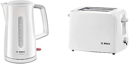 Bosch TWK3A011 Bouilloire Electrique & Bosch Electroménager TAT3A011 CompactClass Grille-pain, 980 W, Blanc