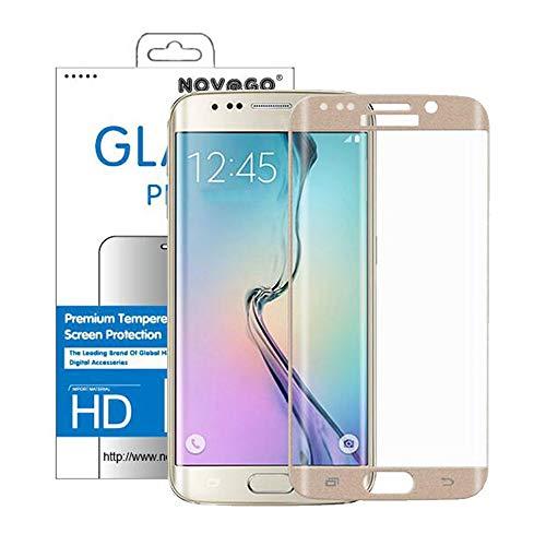 NOVAGO Compatible con Samsung Galaxy S6 Edge- protectore de Cristal Templado curvados (Redondeados en el Borde) para Proteger Toda la Pantalla Versión Ultra Fina 0.2 mm (1 protección, Dorado)