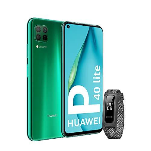 HUAWEI P40 Lite - Smartphone 6.4' (Kirin 810, 6GB RAM, 128GB ROM, Cuádruple cámara, Batería de 4200mAh) Verde + Band 4e Gris, Sin servicios de Google preinstalados [Versión ES/PT]