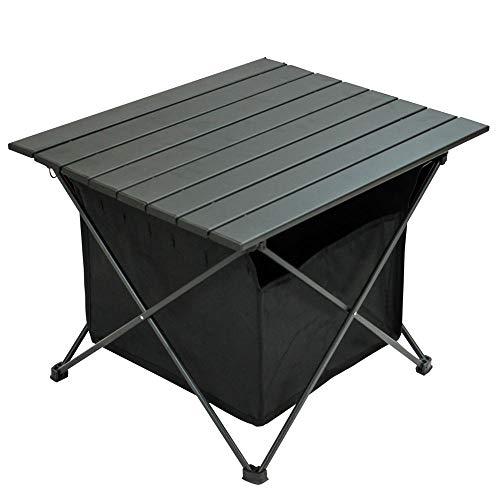 LandField ランドフィールド 折りたたみ式サイドテーブル 幅56cm 高さ39cm 収納カゴ付き LF-FST010