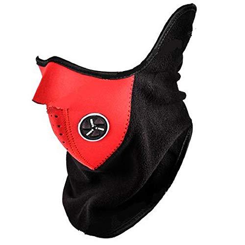 Protector Cara Polar Rojo Negro para Ciudad, Moto, Motocicleta, Bici, Esquí