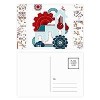 コントラストカラーギアクロックハウスのイラスト 公式ポストカードセットサンクスカード郵送側20個