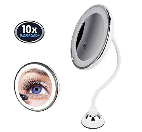 Espejo de Maquillaje de Cuello de Cisne Redondo con Luz LED, Aumento 10X, con Ventosa de Sujeción, Flexible y Ajustable 360˚, Blanco