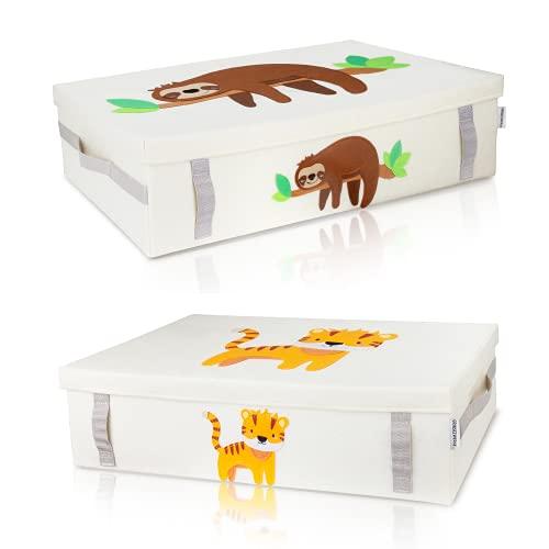 GRINSEZWERGE [2er Set] Spielzeugkiste zur Aufbewahrung unter dem Bett   Unterbettbox Kinder   Aufbewahrungsbox Kinder   große Spielzeugbox mit Deckel für Kinderzimmer   Unterbett Box Kiste flach