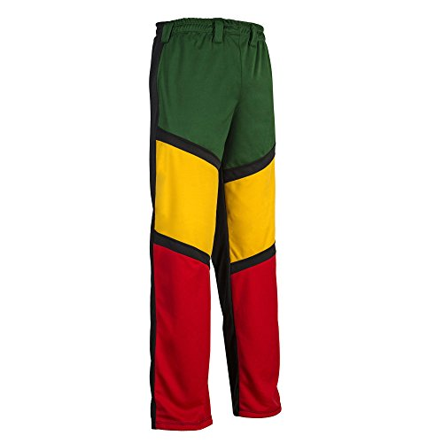 JL Sport Unisexe Reggae Capoeira Abada Arts Martiaux Élastique Pantalon - Vert Noir Jaune Rouge