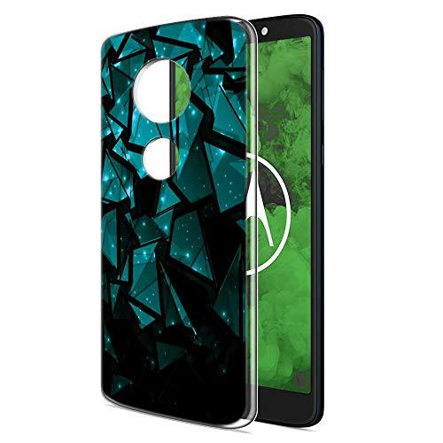 Zhuofan Plus Motorola Moto G6 Play Hülle, Silikon Transparent Schutzhülle mit Muster Motiv Handyhülle Weiche TPU Bumper Kratzfest Durchsichtige Case Cover für Moto G6 Play/Moto E5 5,7
