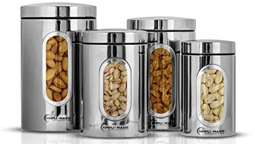 Simpli-Magic 4-Piece Stainless Steel Canisters with Window