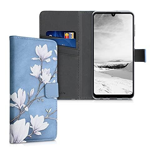 kwmobile Coque Portefeuille Compatible avec Samsung Galaxy A22 4G - Étui à Rabat Tissu et Similicuir avec Compartiment Cartes - Taupe-Blanc-Bleu-Gris
